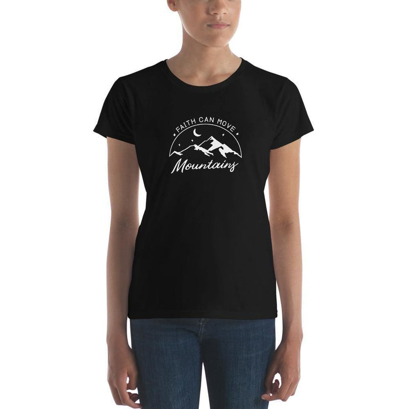 Womens Faith Can Move Mountains Christian T-Shirt - S / Black - T-Shirts