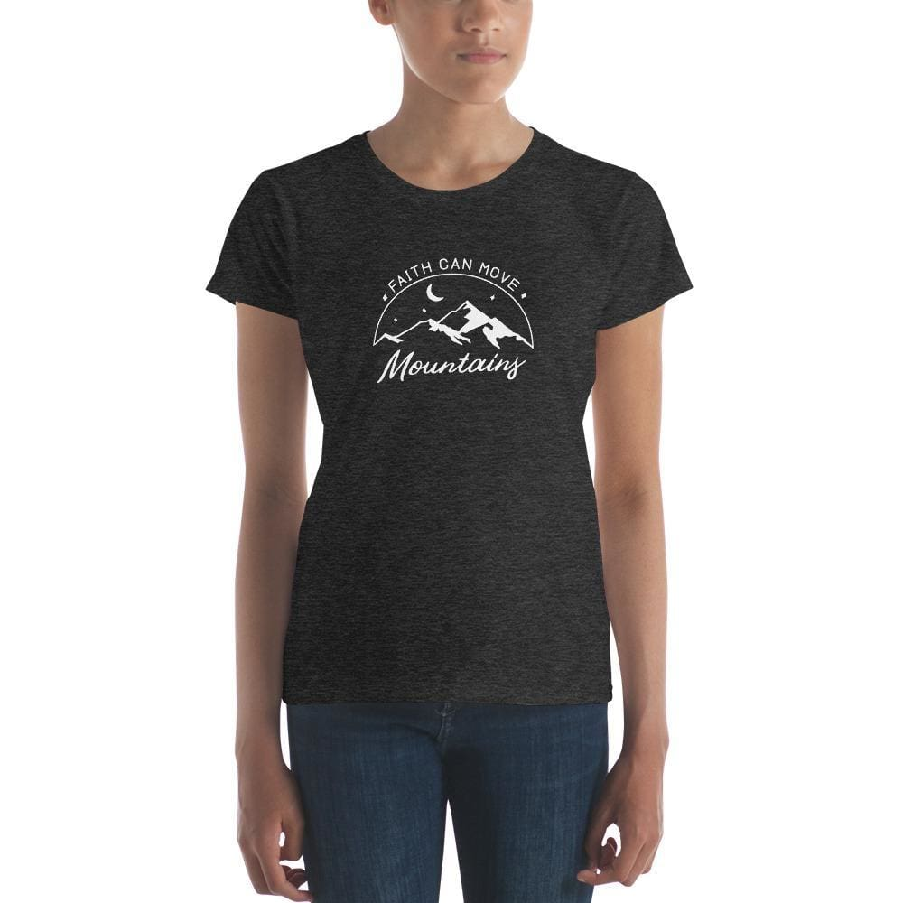 Womens Faith Can Move Mountains Christian T-Shirt - S / Heather Dark Grey - T-Shirts