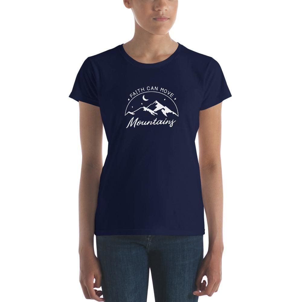 Womens Faith Can Move Mountains Christian T-Shirt - S / Navy - T-Shirts