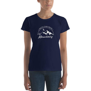 Load image into Gallery viewer, Womens Faith Can Move Mountains Christian T-Shirt - S / Navy - T-Shirts