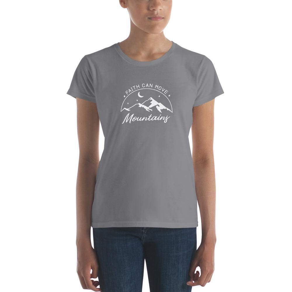 Load image into Gallery viewer, Womens Faith Can Move Mountains Christian T-Shirt - S / Storm Grey - T-Shirts