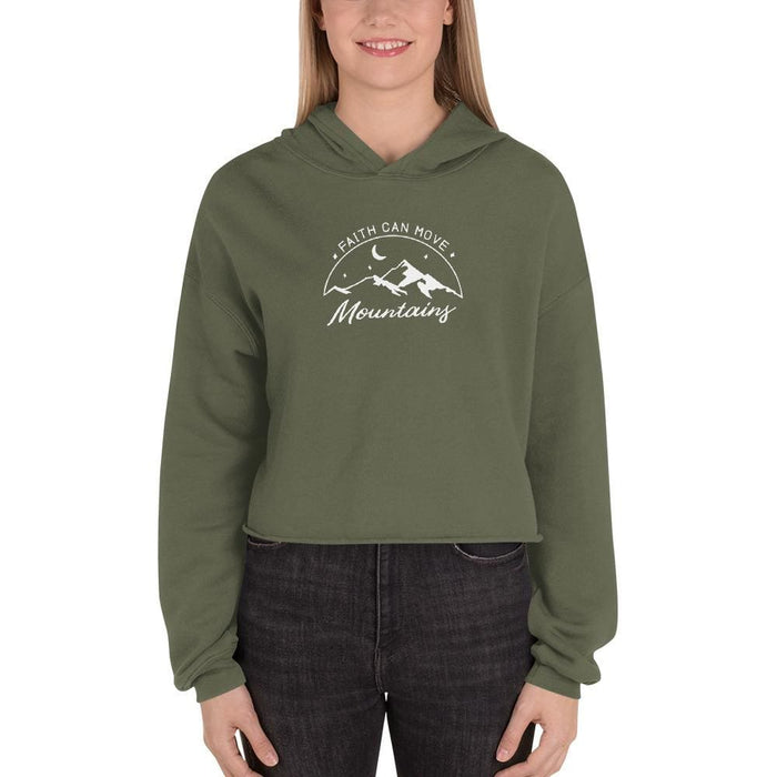 Womens Faith Can Move Mountains Crop Hoodie - S / Military Green - Sweatshirts