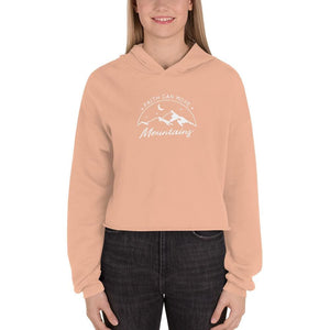 Load image into Gallery viewer, Womens Faith Can Move Mountains Crop Hoodie - S / Peach - Sweatshirts