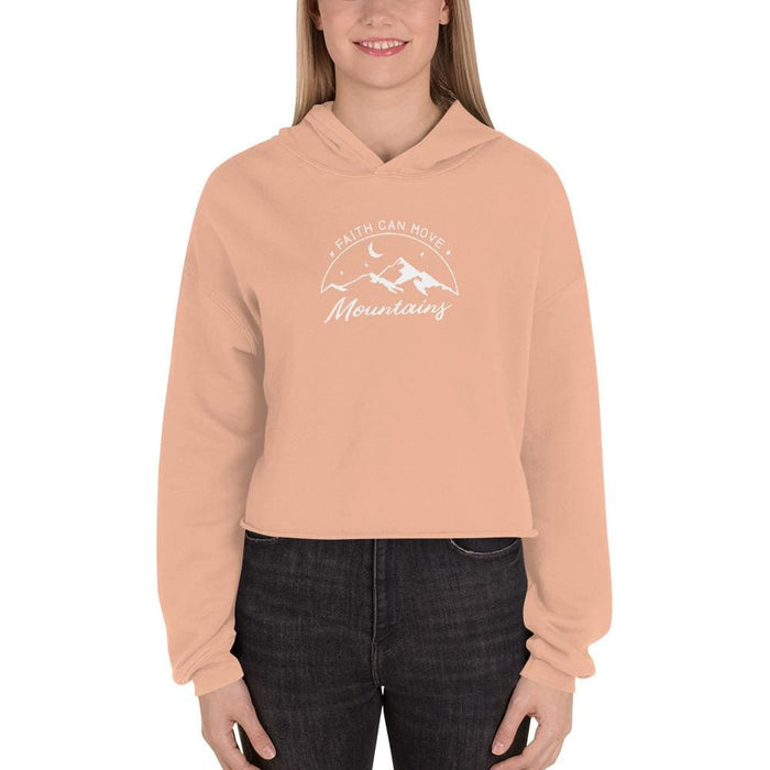 Womens Faith Can Move Mountains Crop Hoodie - S / Peach - Sweatshirts