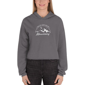 Womens Faith Can Move Mountains Crop Hoodie - S / Storm - Sweatshirts