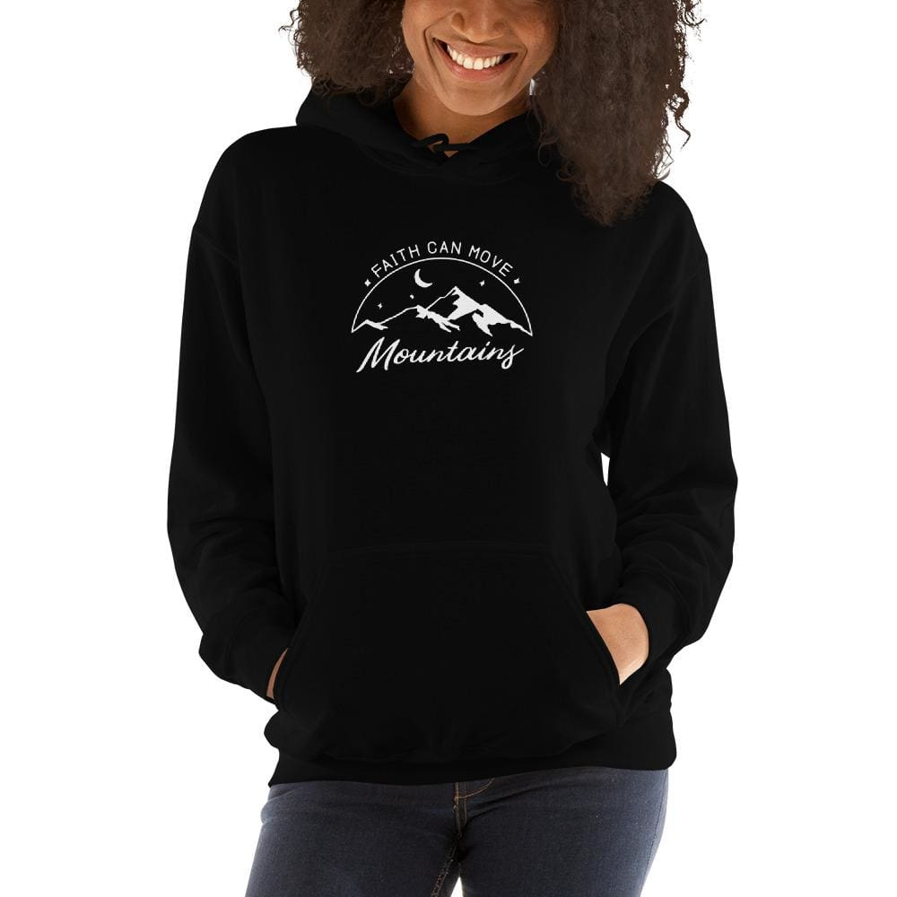 Load image into Gallery viewer, Womens Faith Can Move Mountains Hoodie Sweatshirt - S / Black - Sweatshirts