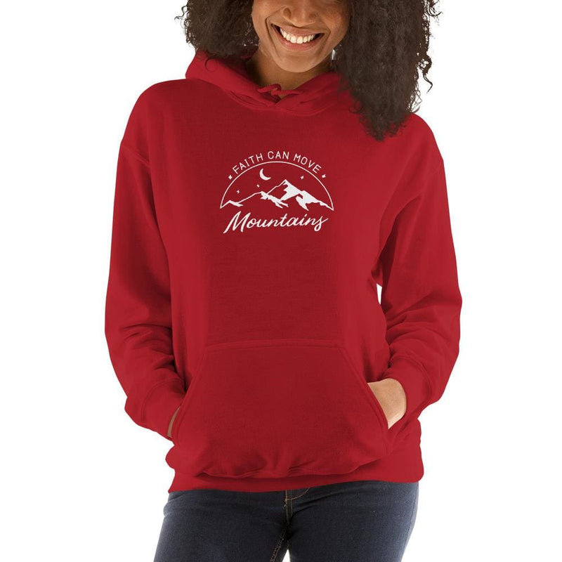 Womens Faith Can Move Mountains Hoodie Sweatshirt - S / Red - Sweatshirts