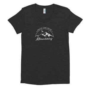 Womens Faith Can Move Mountains Tri-Blend Crew Neck T-shirt - S / Tri-Black - T-Shirts