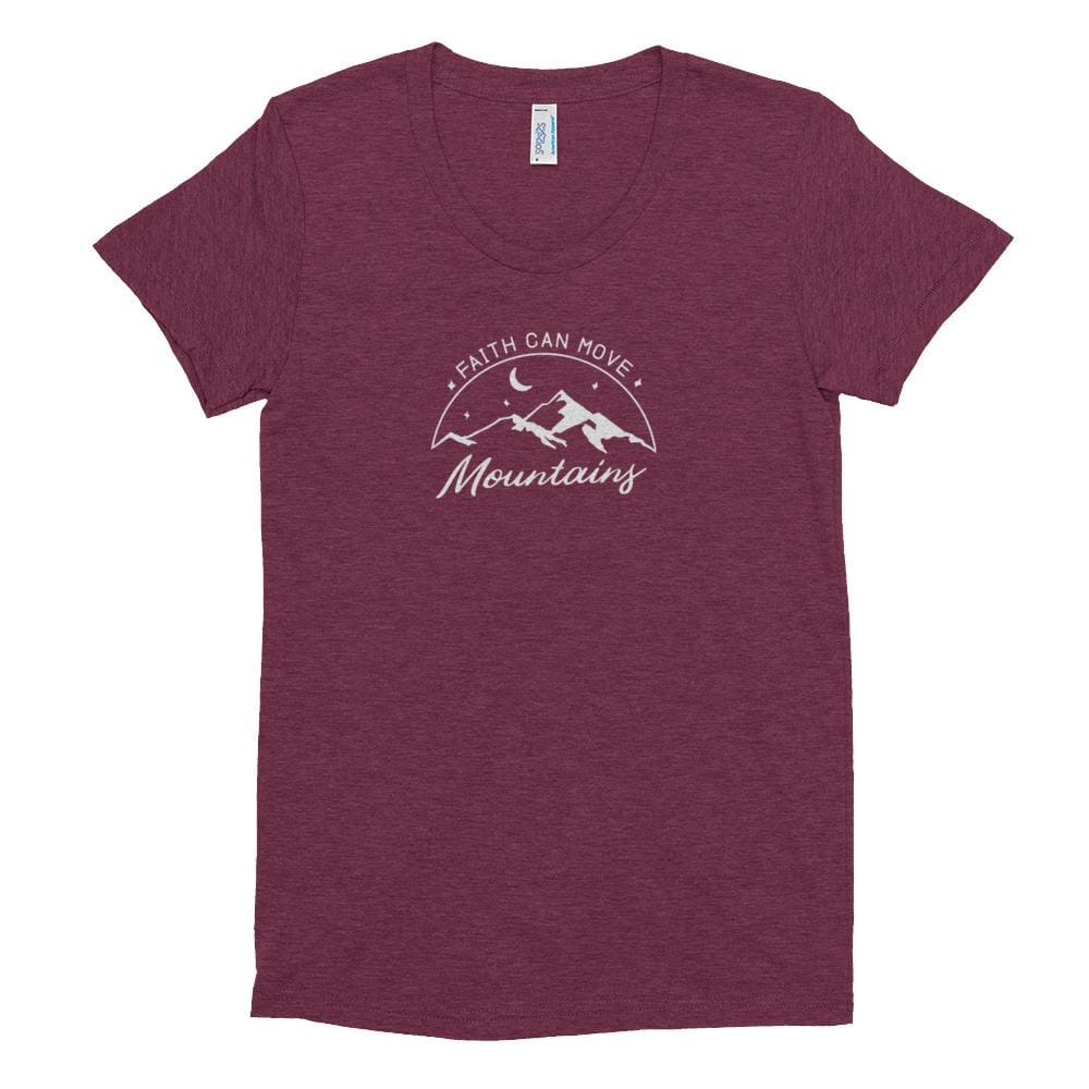 Load image into Gallery viewer, Womens Faith Can Move Mountains Tri-Blend Crew Neck T-shirt - S / Tri-Cranberry - T-Shirts