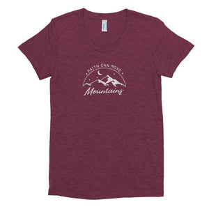 Womens Faith Can Move Mountains Tri-Blend Crew Neck T-shirt - S / Tri-Cranberry - T-Shirts