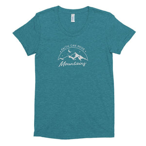 Womens Faith Can Move Mountains Tri-Blend Crew Neck T-shirt - S / Tri-Evergreen - T-Shirts
