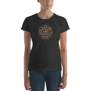 Womens Faith Makes Things Possible Not Easy Christian T-Shirt - S / Heather Dark Grey - T-Shirts