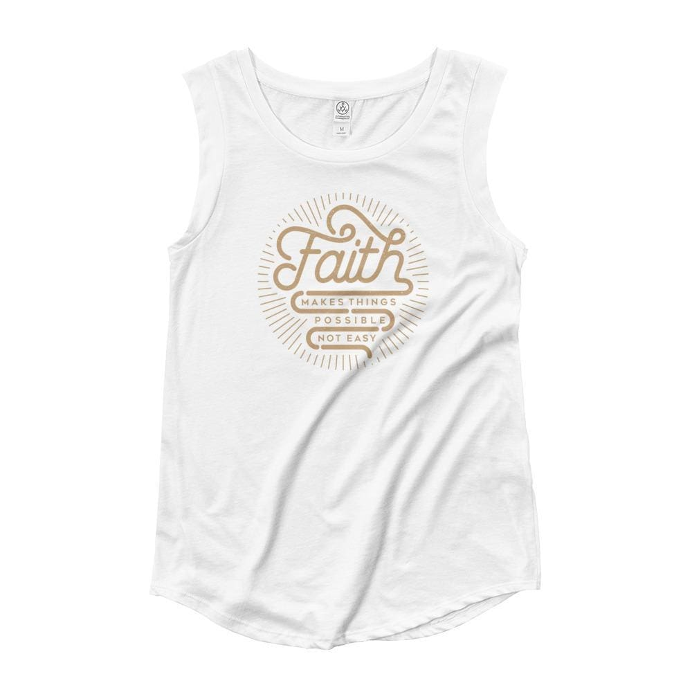 Womens Faith Makes Things Possible Not Easy Muscle Tank Top (Gold Print) - S / White - Tank Tops