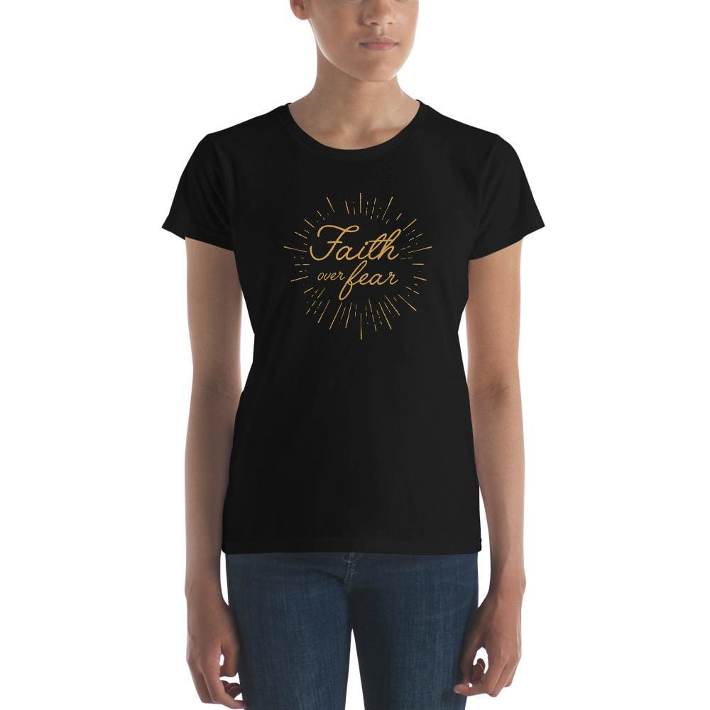 Load image into Gallery viewer, Womens Faith over Fear Burst Christian T-Shirt - S / Black - T-Shirts