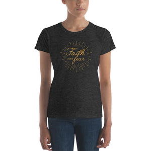 Load image into Gallery viewer, Womens Faith over Fear Burst Christian T-Shirt - S / Heather Dark Grey - T-Shirts