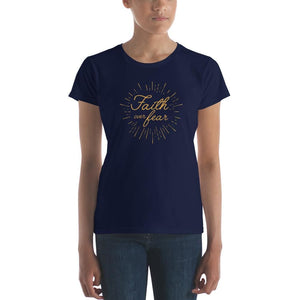Load image into Gallery viewer, Womens Faith over Fear Burst Christian T-Shirt - S / Navy - T-Shirts