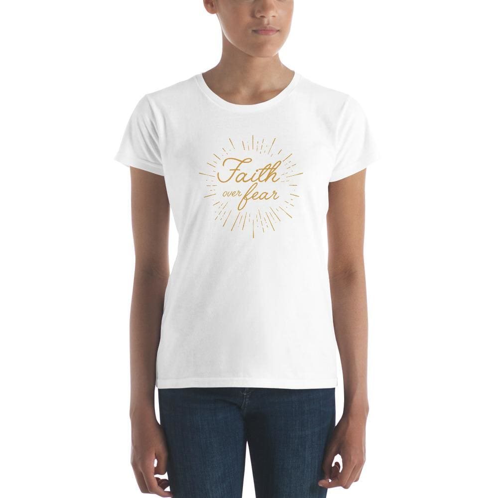 Load image into Gallery viewer, Womens Faith over Fear Burst Christian T-Shirt - S / White - T-Shirts