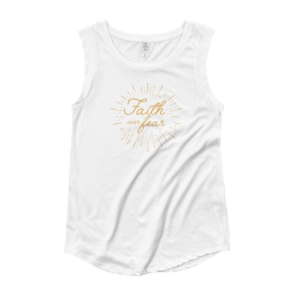 Womens Faith over Fear Burst Muscle Tank - S / White - Tank Tops