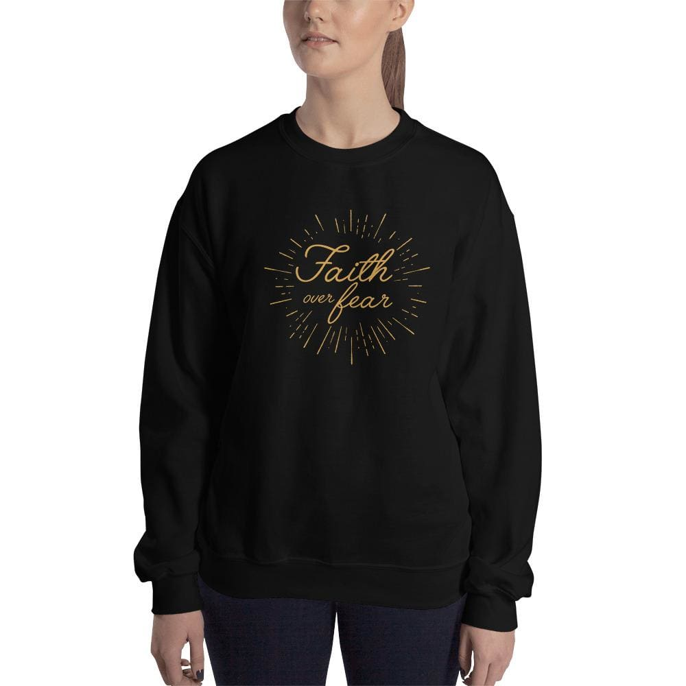 Womens Faith over Fear Christian Crewneck Sweatshirt - S / Black - Sweatshirts