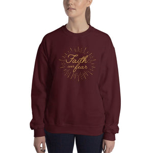 Womens Faith over Fear Christian Crewneck Sweatshirt - S / Maroon - Sweatshirts
