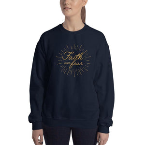 Womens Faith over Fear Christian Crewneck Sweatshirt - S / Navy - Sweatshirts