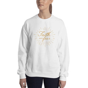 Womens Faith over Fear Christian Crewneck Sweatshirt - S / White - Sweatshirts