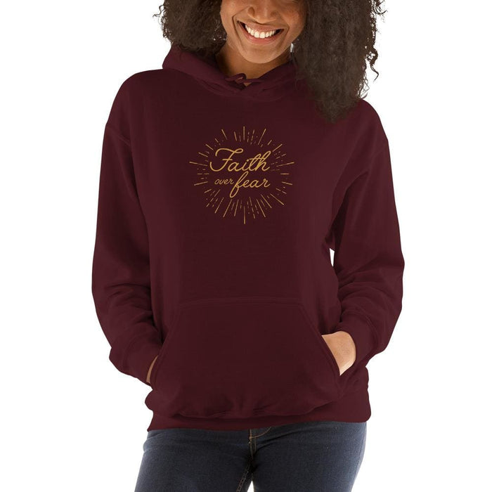 Womens Faith over Fear Christian Hoodie Sweatshirt - S / Maroon - Sweatshirts