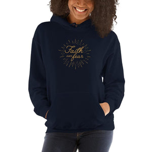 Womens Faith over Fear Christian Hoodie Sweatshirt - S / Navy - Sweatshirts