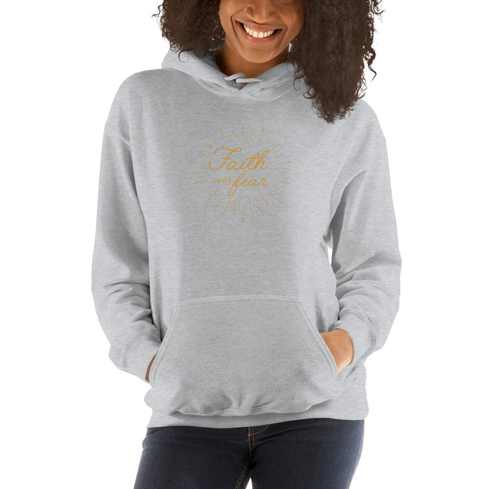 Womens Faith over Fear Christian Hoodie Sweatshirt - S / Sport Grey - Sweatshirts
