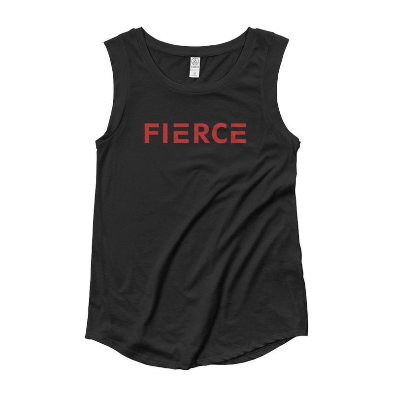 Womens Fierce Muscle Tank Top (Red) - S / Black - Tank Tops