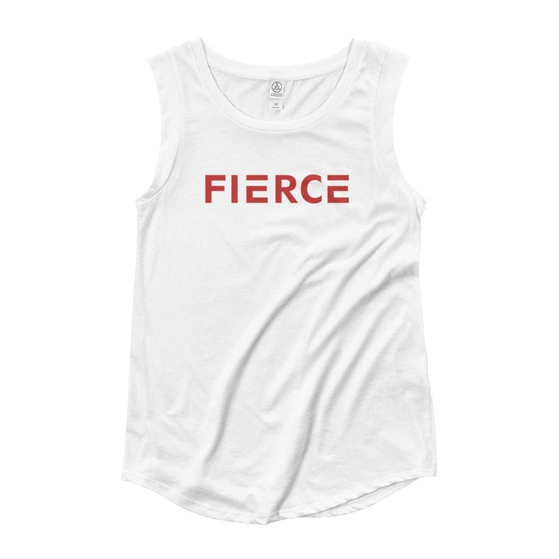 Womens Fierce Muscle Tank Top (Red) - S / White - Tank Tops