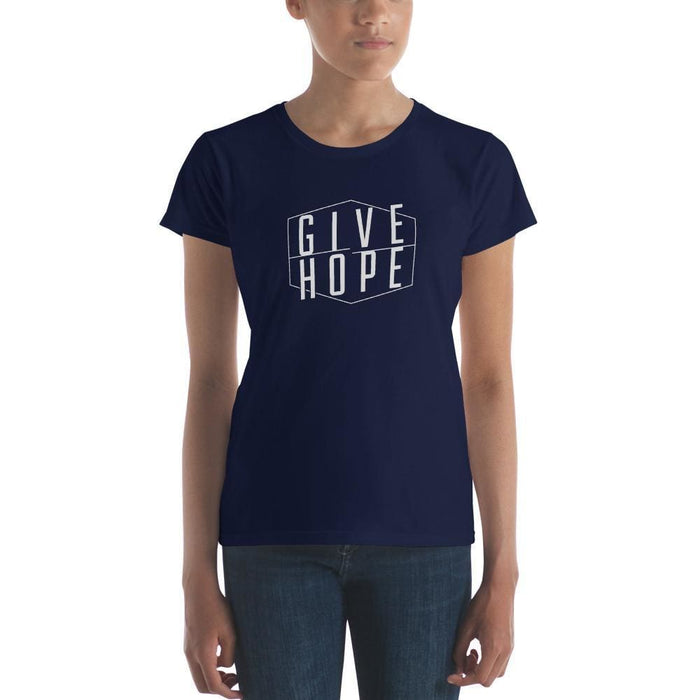 Womens Give Hope T-Shirt - S / Navy - T-Shirts