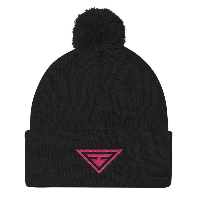 Women's Hero Pom Pom Knit Hat in Black & Pink