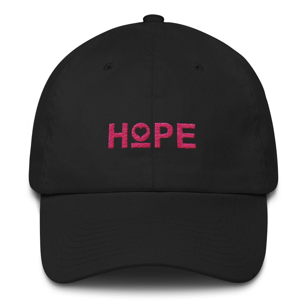 Womens Hope Heart Adjustable Dad Hat - One-size / Black - Hats