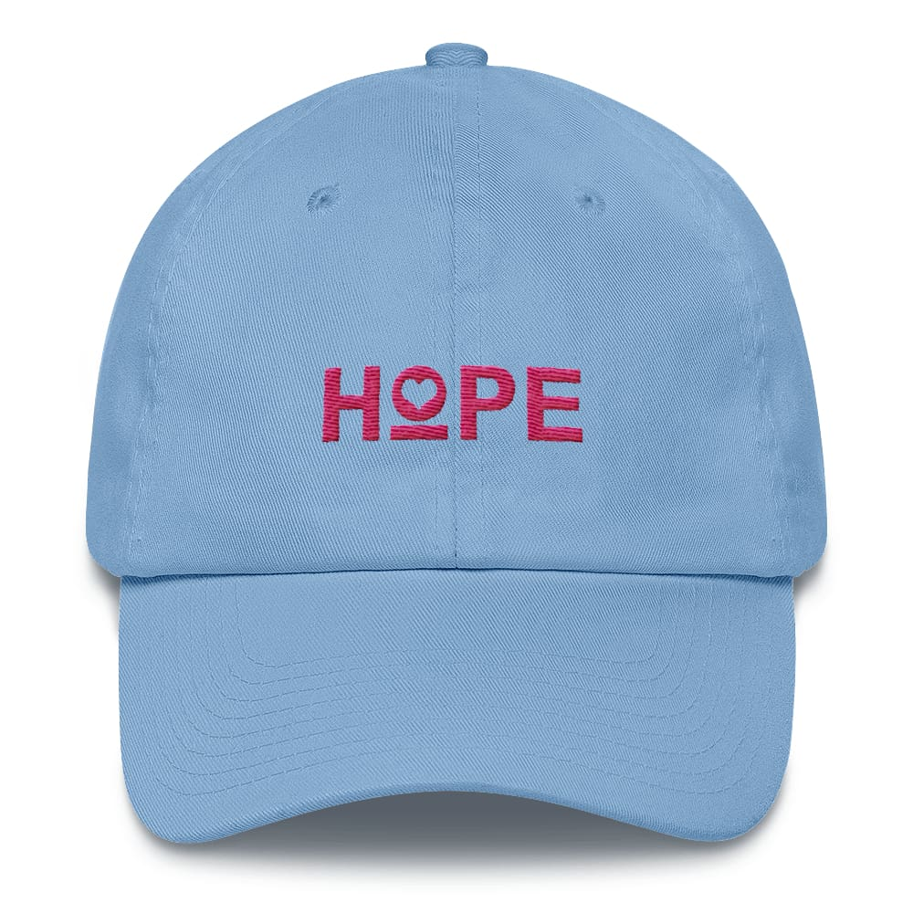 Womens Hope Heart Adjustable Dad Hat - One-size / Carolina Blue - Hats