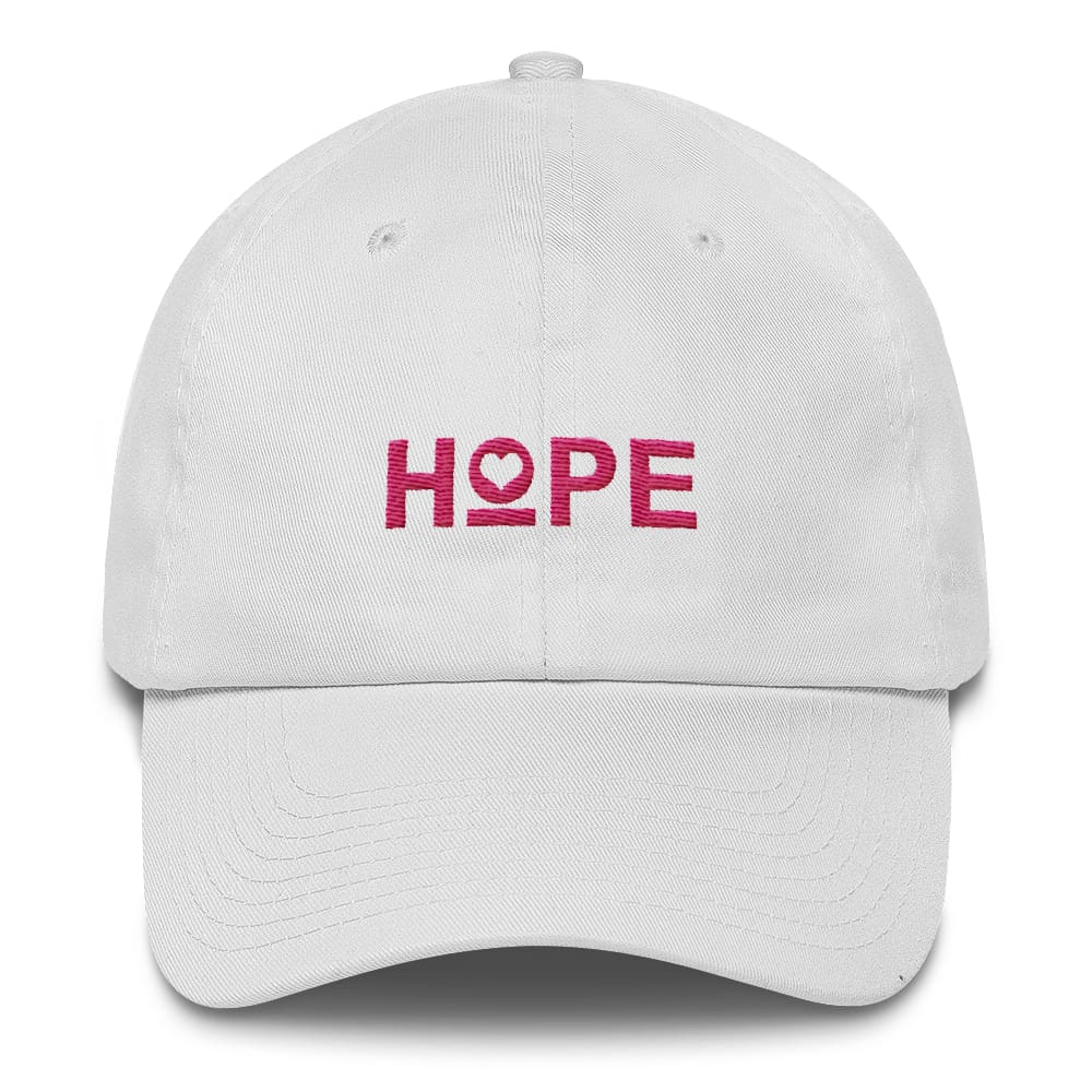Womens Hope Heart Adjustable Dad Hat - One-size / White - Hats