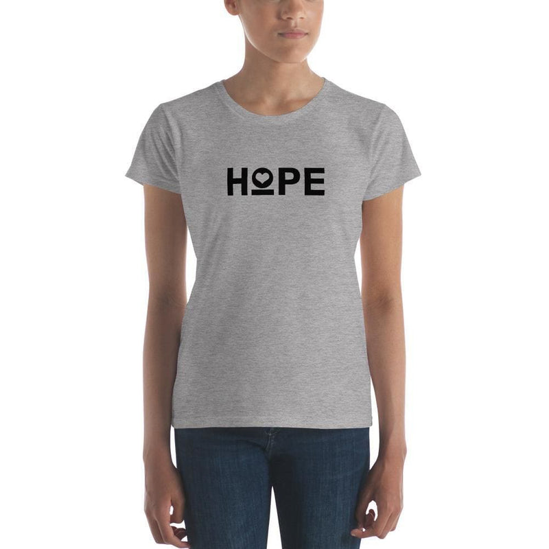 Womens Hope Heart T-Shirt - S / Heather Grey - T-Shirts