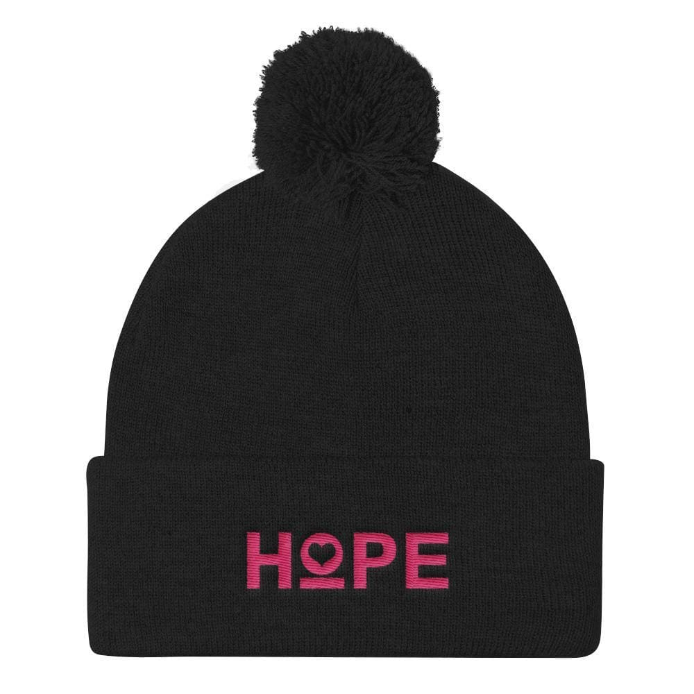 Womens Hope Pom Pom Knit Beanie - Black - Hats