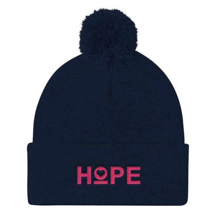 Womens Hope Pom Pom Knit Beanie - Navy - Hats
