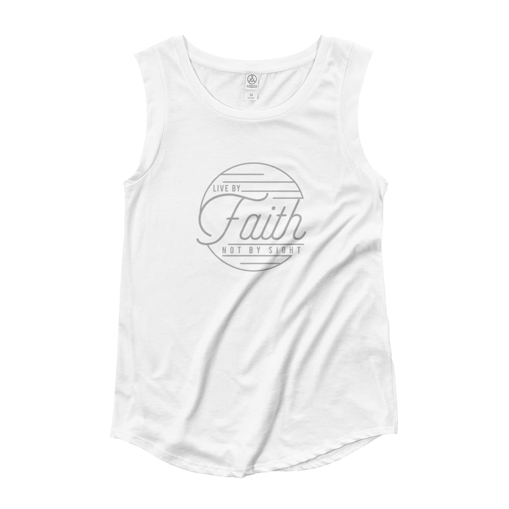 Womens Live by Faith Christian Muscle Tank Top - S / White - Tank Tops