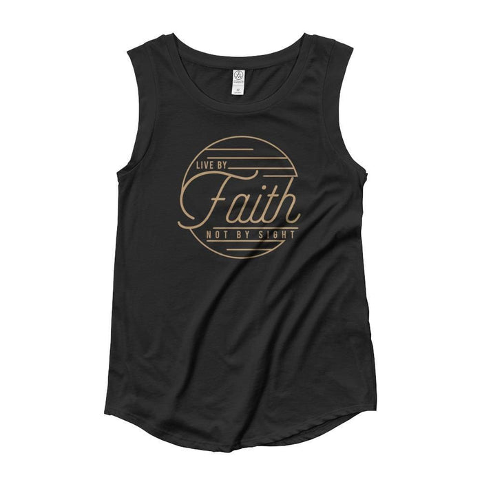 Womens Live by Faith Not By Sight Muscle Tank Top (Gold Print) - S / Black - Tank Tops