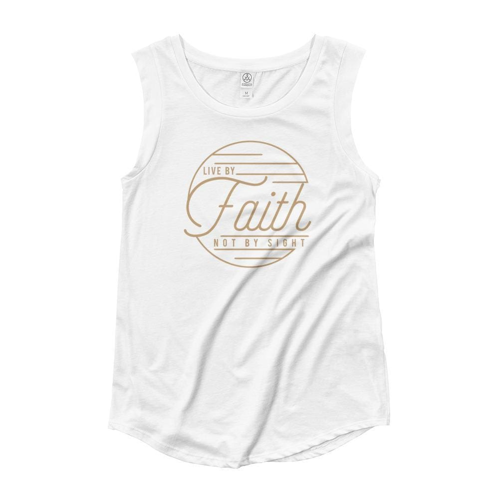 Womens Live by Faith Not By Sight Muscle Tank Top (Gold Print) - S / White - Tank Tops