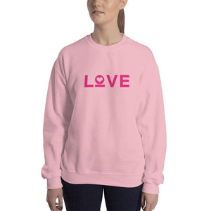 Womens Love Heart Crewneck Sweatshirt - S / Light Pink - Sweatshirts