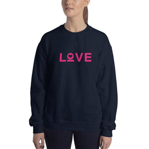 Womens Love Heart Crewneck Sweatshirt - S / Navy - Sweatshirts