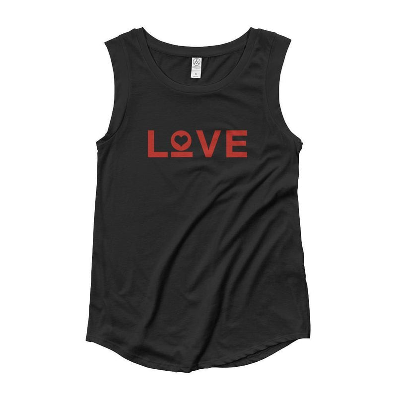 Womens Love Heart Muscle Tank Top (Red Print) - S / Black - Tank Tops