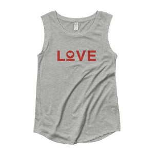 Womens Love Heart Muscle Tank Top (Red Print) - S / Heather Grey - Tank Tops