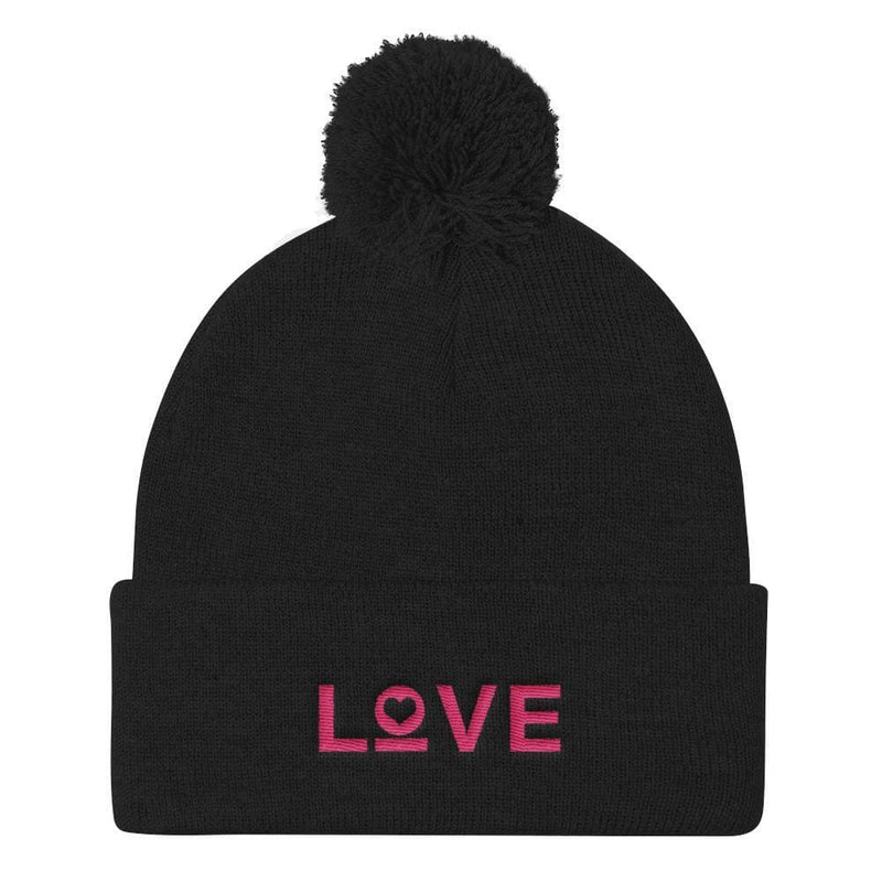 Womens Love Pom Pom Knit Beanie - One-size / Black - Hats