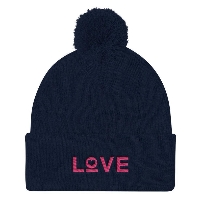 Womens Love Pom Pom Knit Beanie - One-size / Navy - Hats