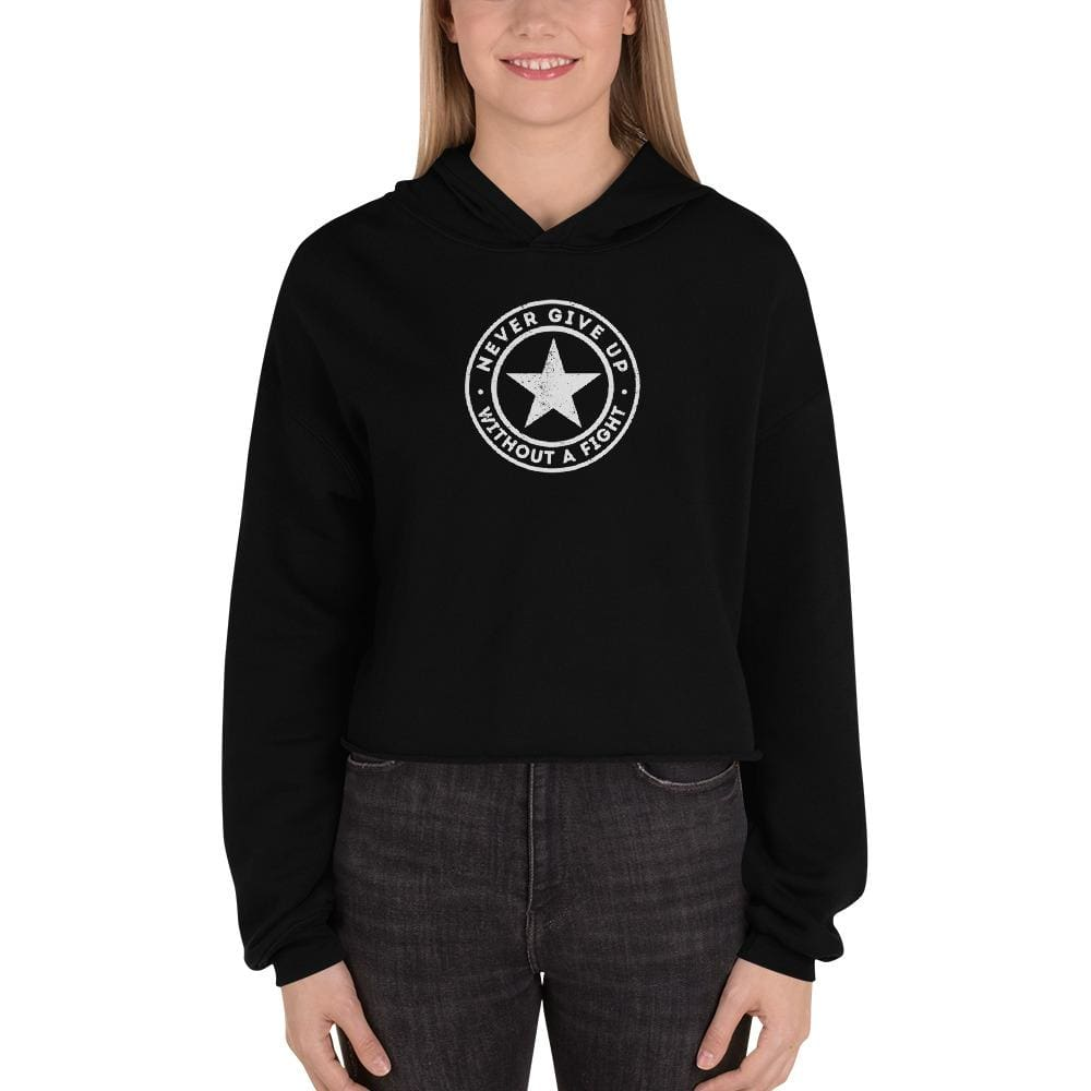 Womens Never Give Up Without a Fight Crop Hoodie - S / Black - Sweatshirts