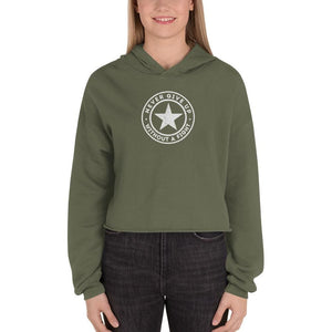 Womens Never Give Up Without a Fight Crop Hoodie - S / Military Green - Sweatshirts